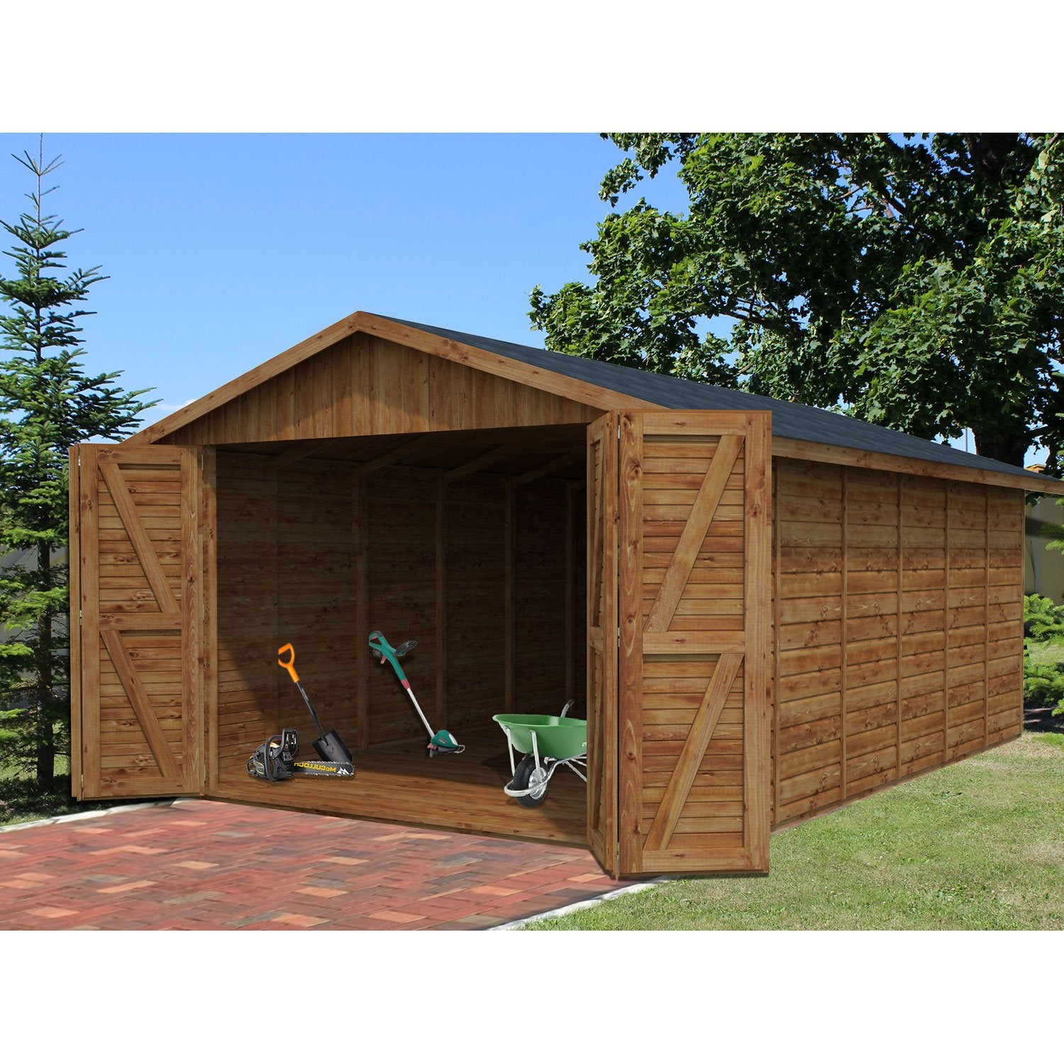Garage bois tourmalet 2 voitures m leroy merlin for Garage en bois 20m2