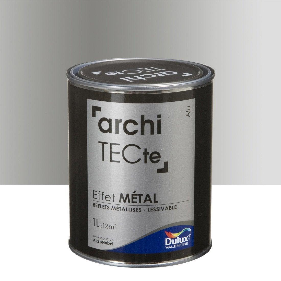 Peinture effet architecte effet m tal dulux valentine gris aluminium 1 l - Peinture a effet metal ...