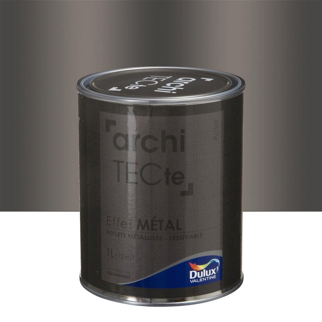 Peinture effet architecte effet m tal dulux valentine gris acier 1 l l - Peinture pour baignoire en fonte ...