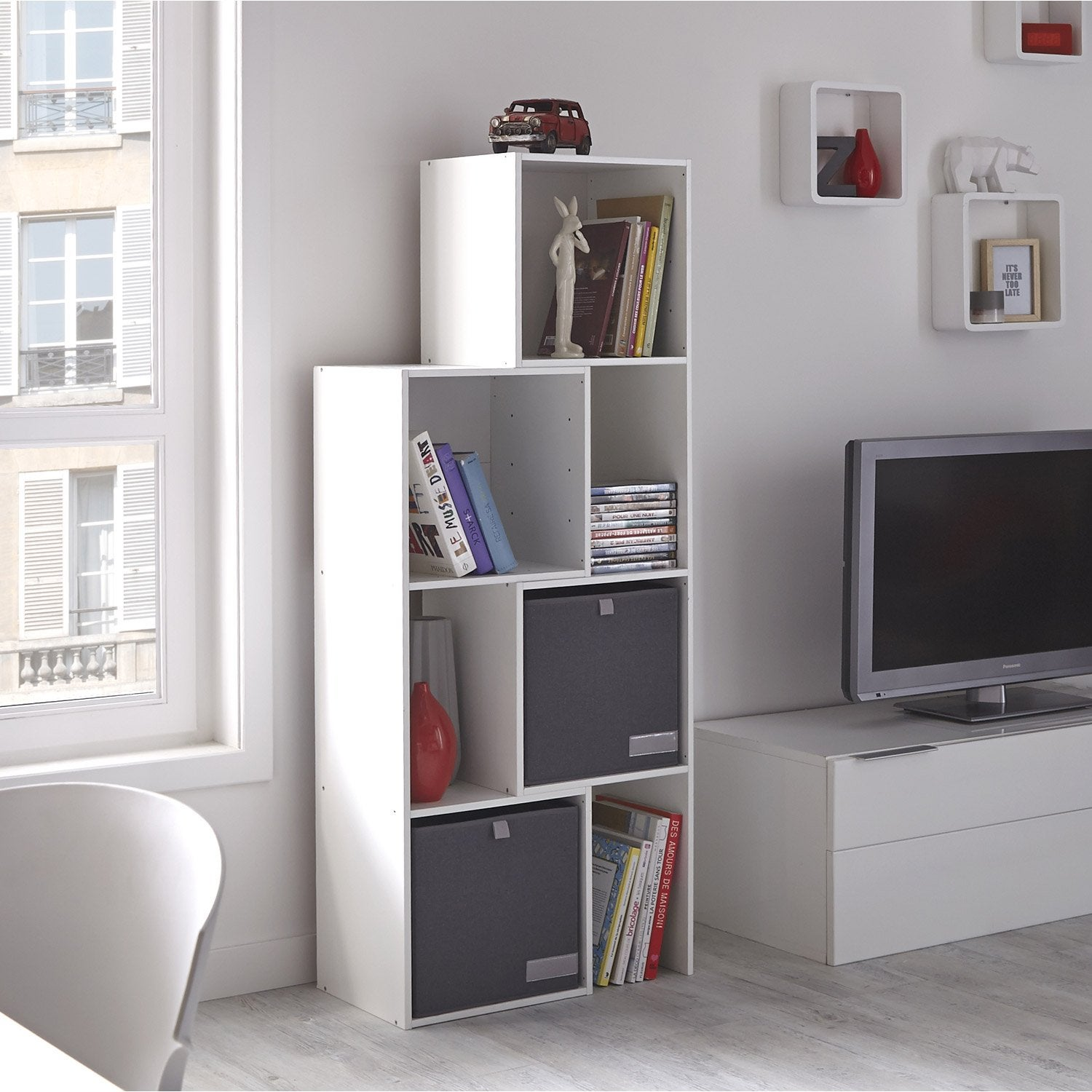 Etag re 7 cases multikaz blanc x x cm leroy merlin - Etagere leroy merlin ...