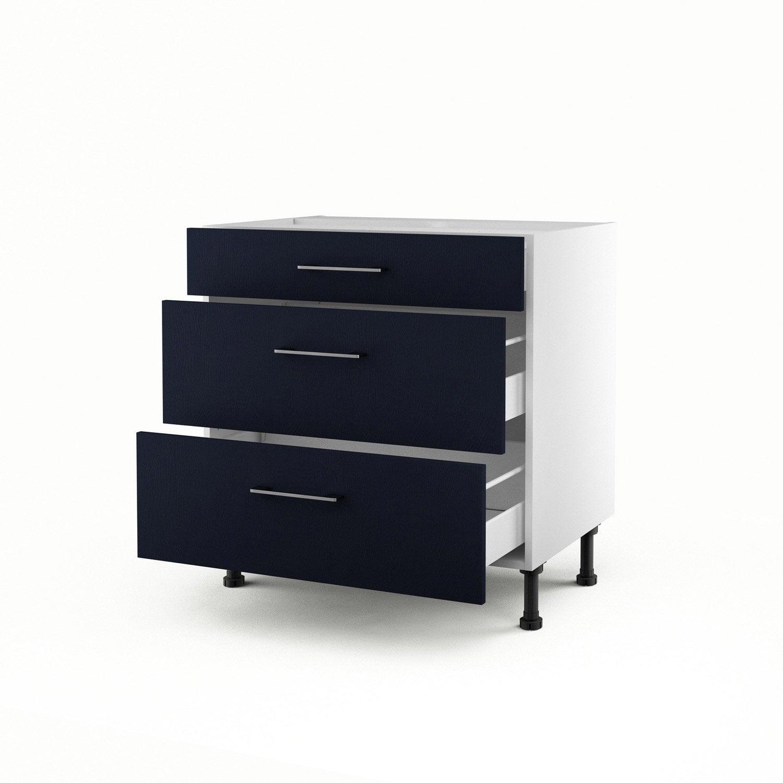 meuble de cuisine bas bleu 3 tiroirs topaze x x. Black Bedroom Furniture Sets. Home Design Ideas
