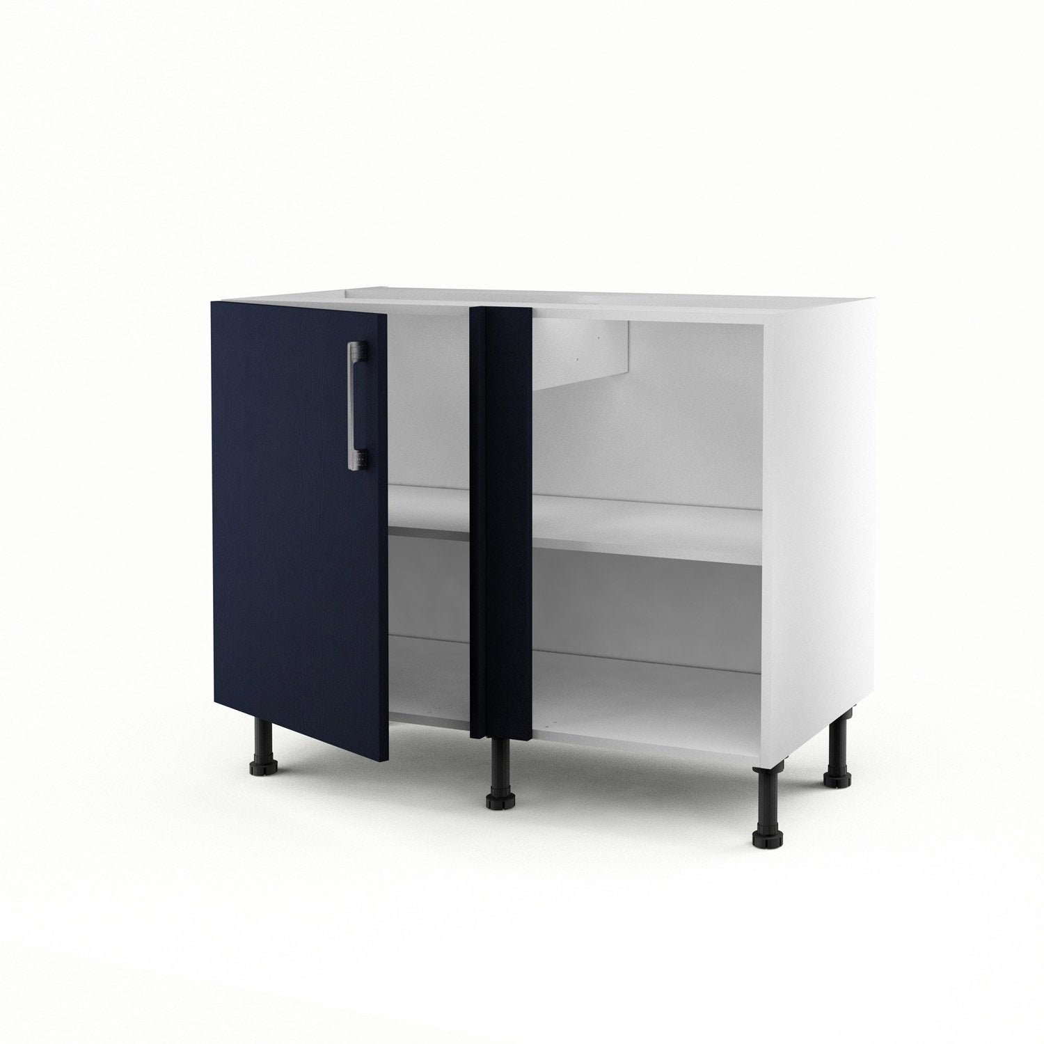 meuble de cuisine bas d 39 angle bleu 1 porte topaze x x cm leroy merlin. Black Bedroom Furniture Sets. Home Design Ideas