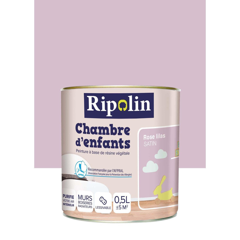 Peinture rose lilas ripolin chambre d 39 enfants 0 5 l for Peinture sans poncer leroy merlin