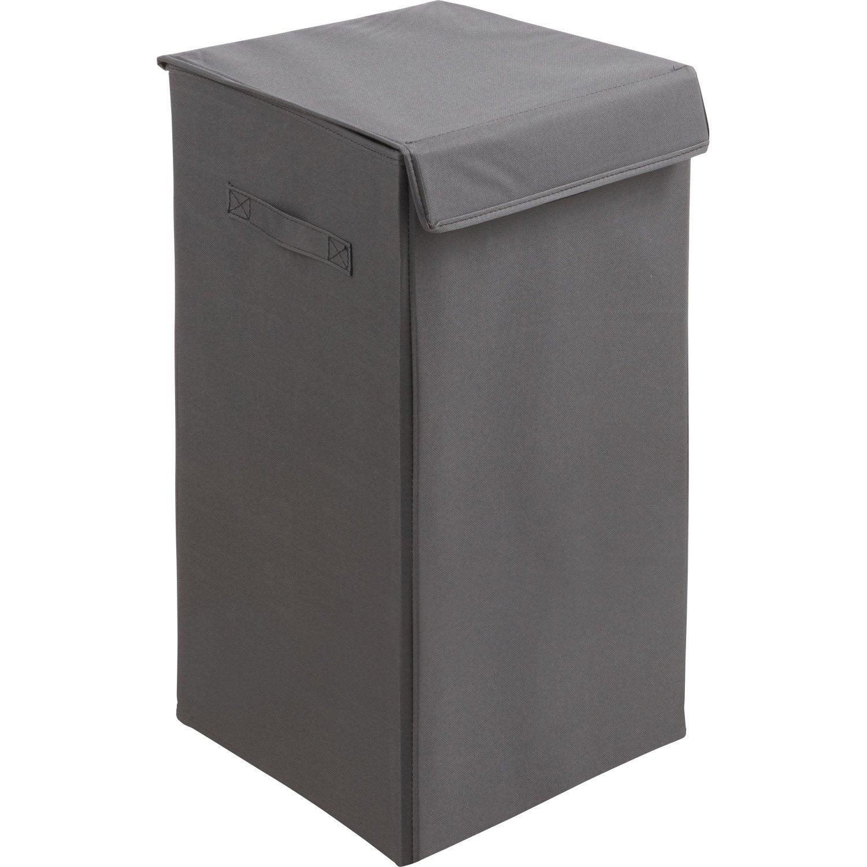 Panier linge pliable gris x x cm - Colonne salle de bain avec panier a linge ...