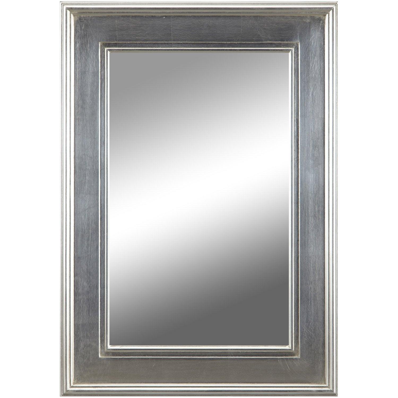 Miroir tisbury rectangle argent x cm leroy for Miroir trumeau leroy merlin