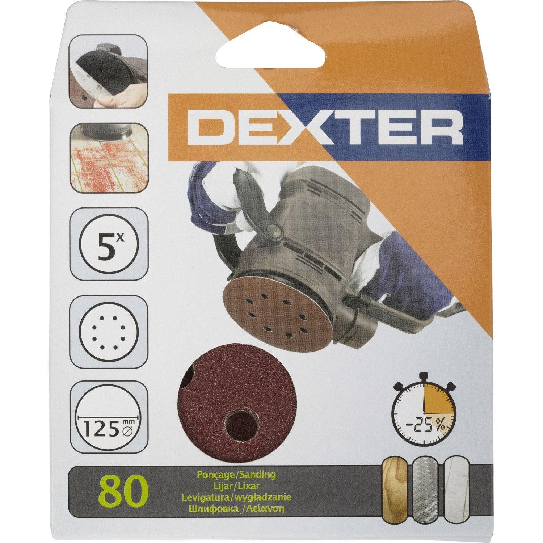 5 disques abrasifs dexter pour ponceuse excentrique 125 mm grains 80 leroy - Quelle ponceuse pour platre ...