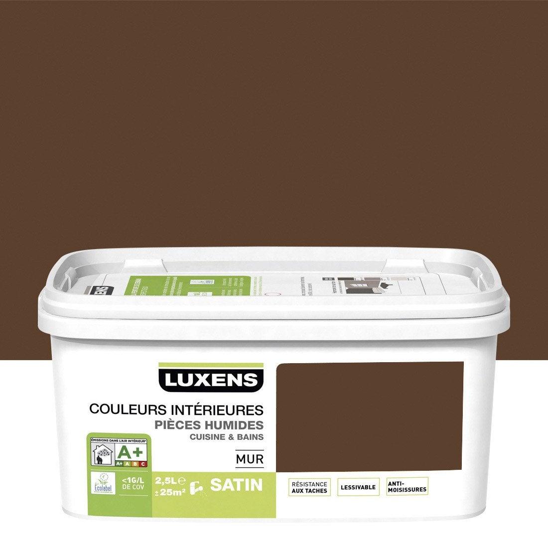Peinture couleurs int rieures luxens brun chocolat 3 2 for Peinture couleur chocolat