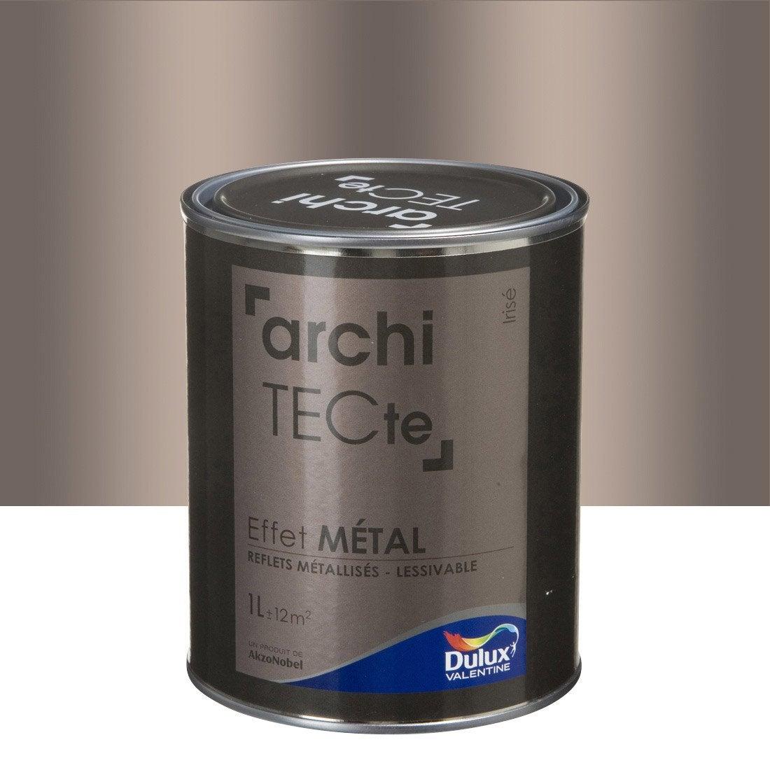 Peinture effet architecte effet m tal dulux valentine beige iris 1 l - Peinture effet metal ...