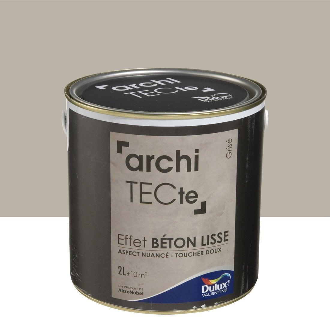 Peinture d corative architecte effet b ton dulux valentine gris 2 l ler - Peinture dulux valentine architecte ...