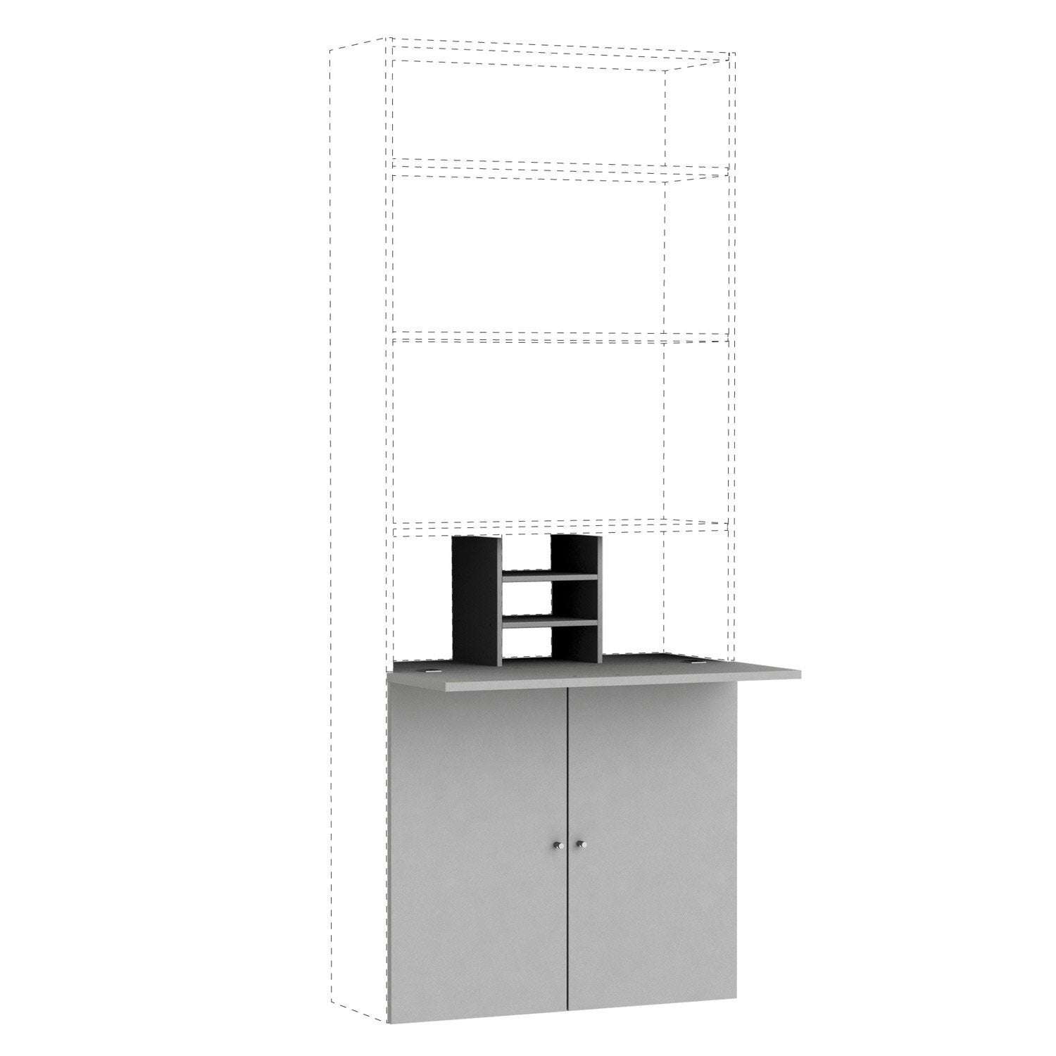 kit bureau gris spaceo home h 1 6 x x p 1 6 cm leroy merlin. Black Bedroom Furniture Sets. Home Design Ideas