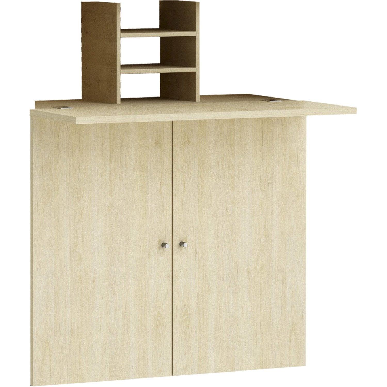 kit bureau spaceo home 100 x 80 x 30 cm effet ch ne naturel leroy merlin. Black Bedroom Furniture Sets. Home Design Ideas