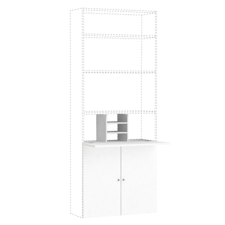 Kit bureau spaceo home 100 x 80 x 30 cm blanc leroy merlin - Kit demenagement leroy merlin ...