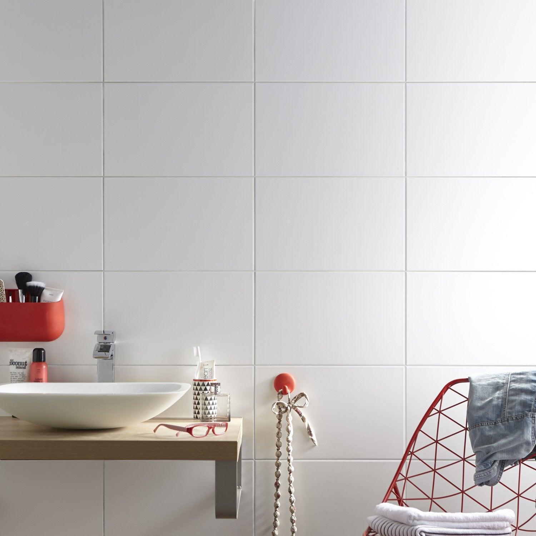 carrelage mural basic mat aero en fa ence blanc 25 x 40 cm leroy merlin. Black Bedroom Furniture Sets. Home Design Ideas