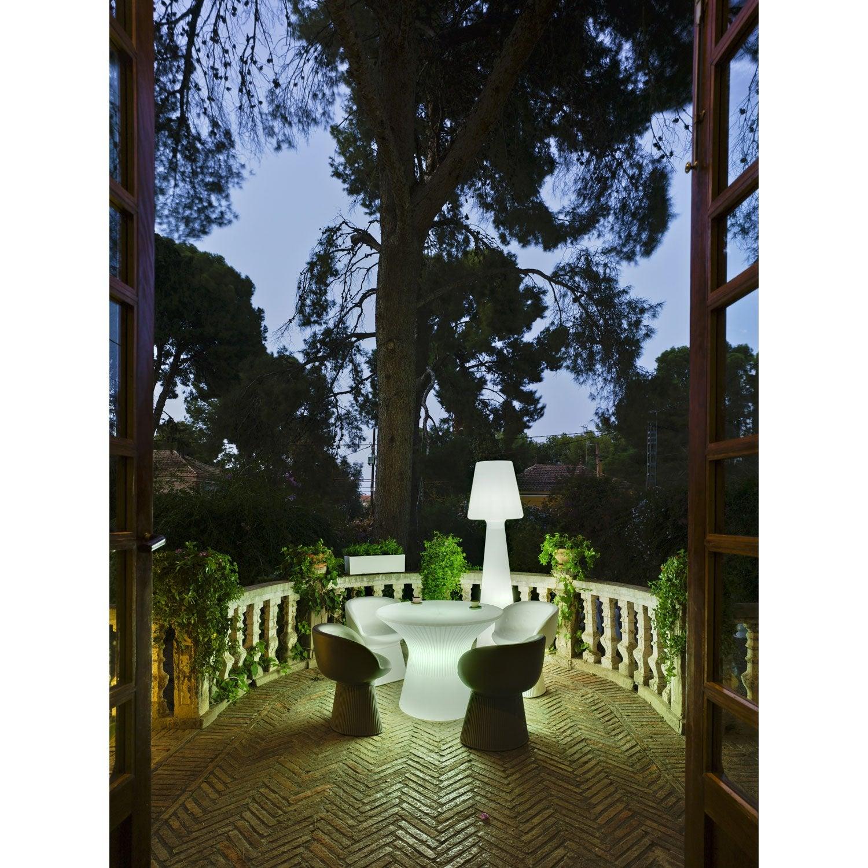 Fabriquer Une Table Basse En Chene ~ Table De Jardin Basse Capri Ronde Blanc 2 Personnes  Leroy Merlin