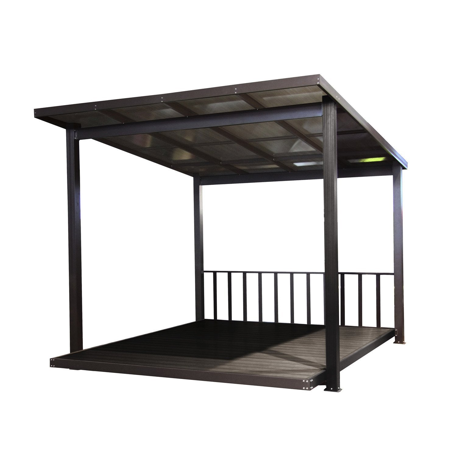 pergola autoportante aluminium marron fonc m. Black Bedroom Furniture Sets. Home Design Ideas