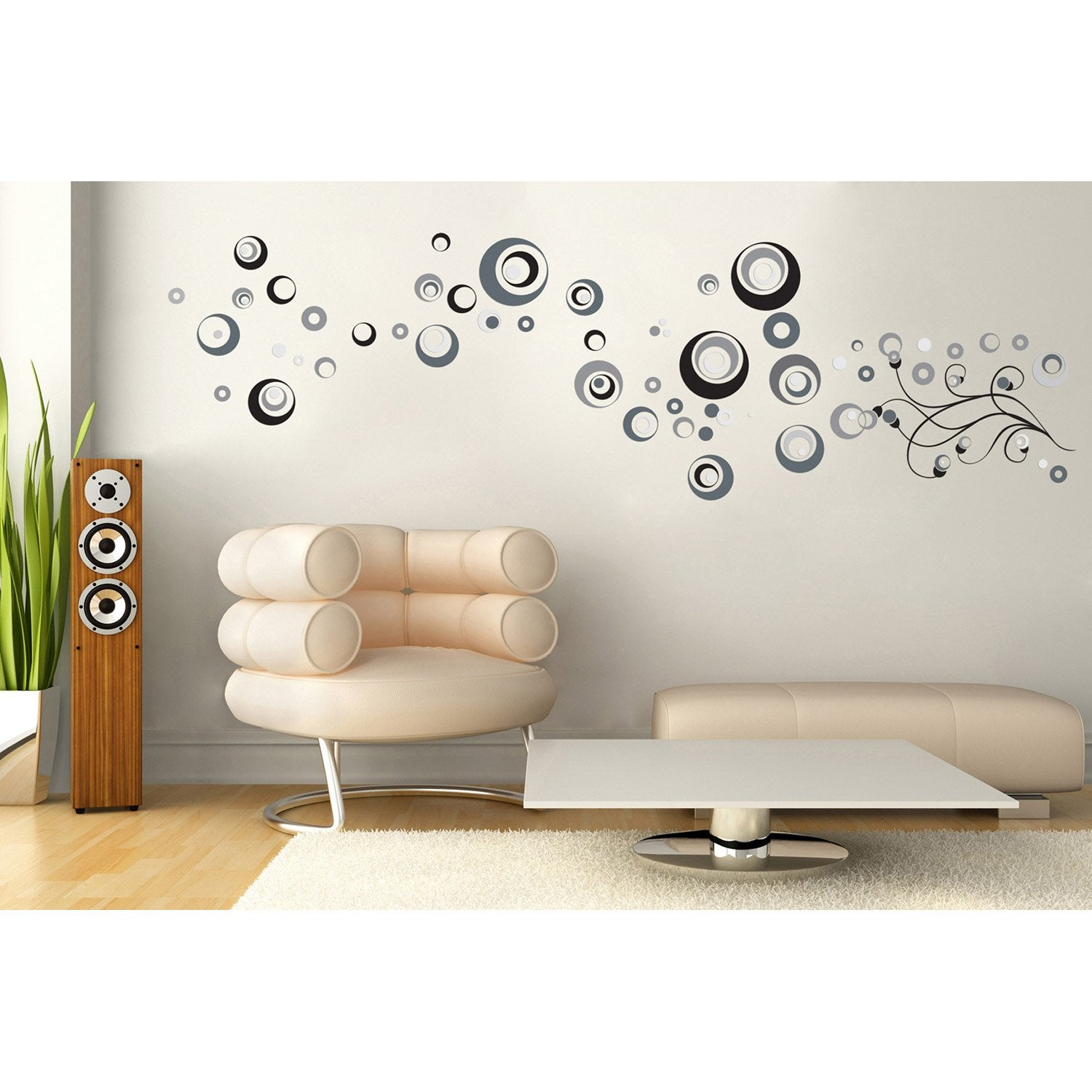 Sticker abstrait 50 cm x 70 cm leroy merlin - Sticker mural leroy merlin ...