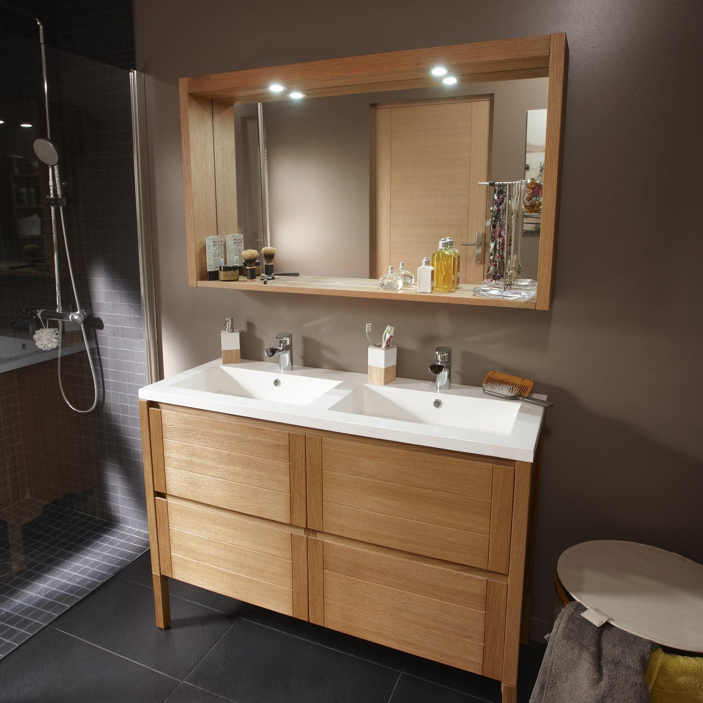 Meuble de salle de bains fjord plaquage ch ne naturel 120 for Meuble salle de bain aubergine leroy merlin