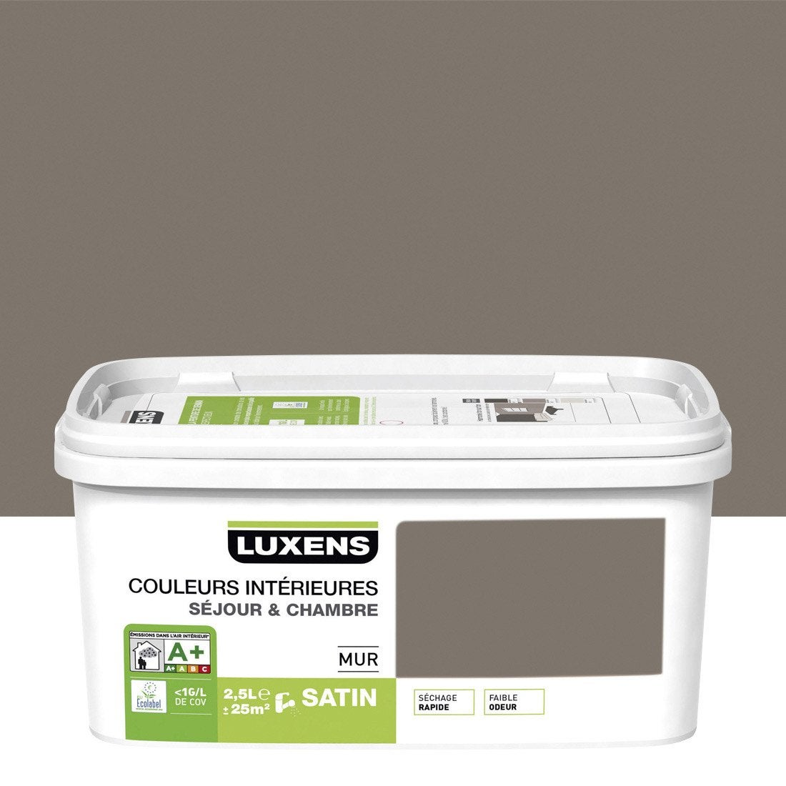 Peinture murale couleurs int rieures luxens brun taupe n 3 2 5 l leroy merlin for Peinture murale taupe