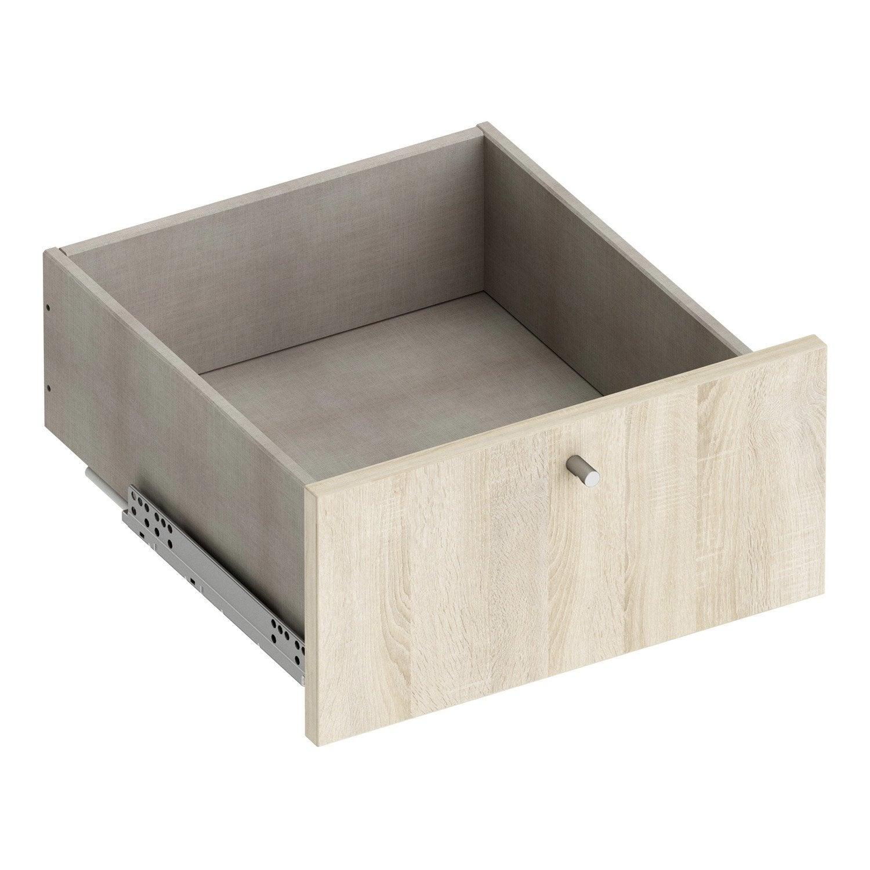 tiroir amorti spaceo home 20 x 40 x 39 6 cm effet ch ne havane leroy merlin. Black Bedroom Furniture Sets. Home Design Ideas