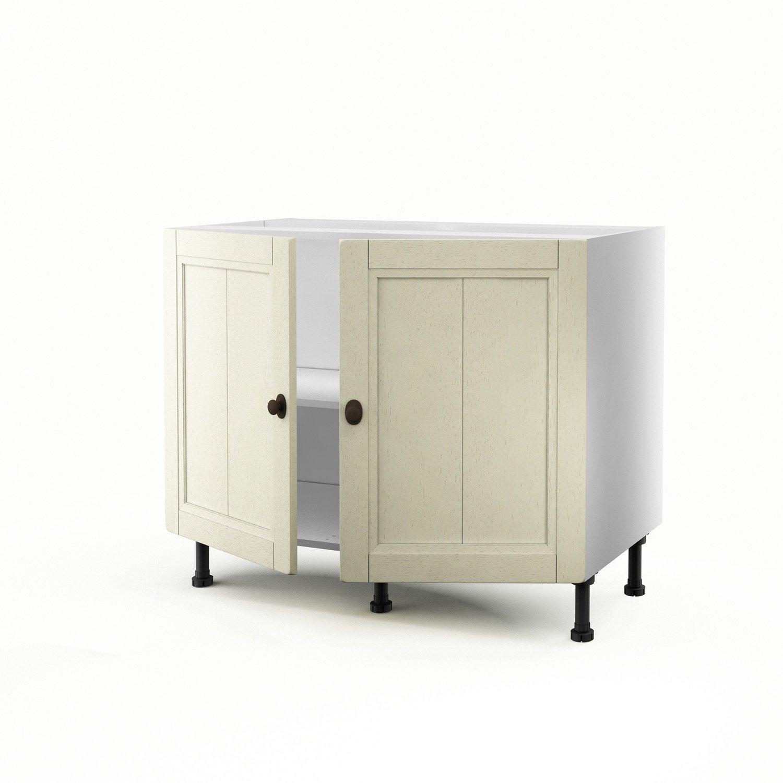 meuble de cuisine bas beige 2 portes tradition x x cm leroy merlin. Black Bedroom Furniture Sets. Home Design Ideas