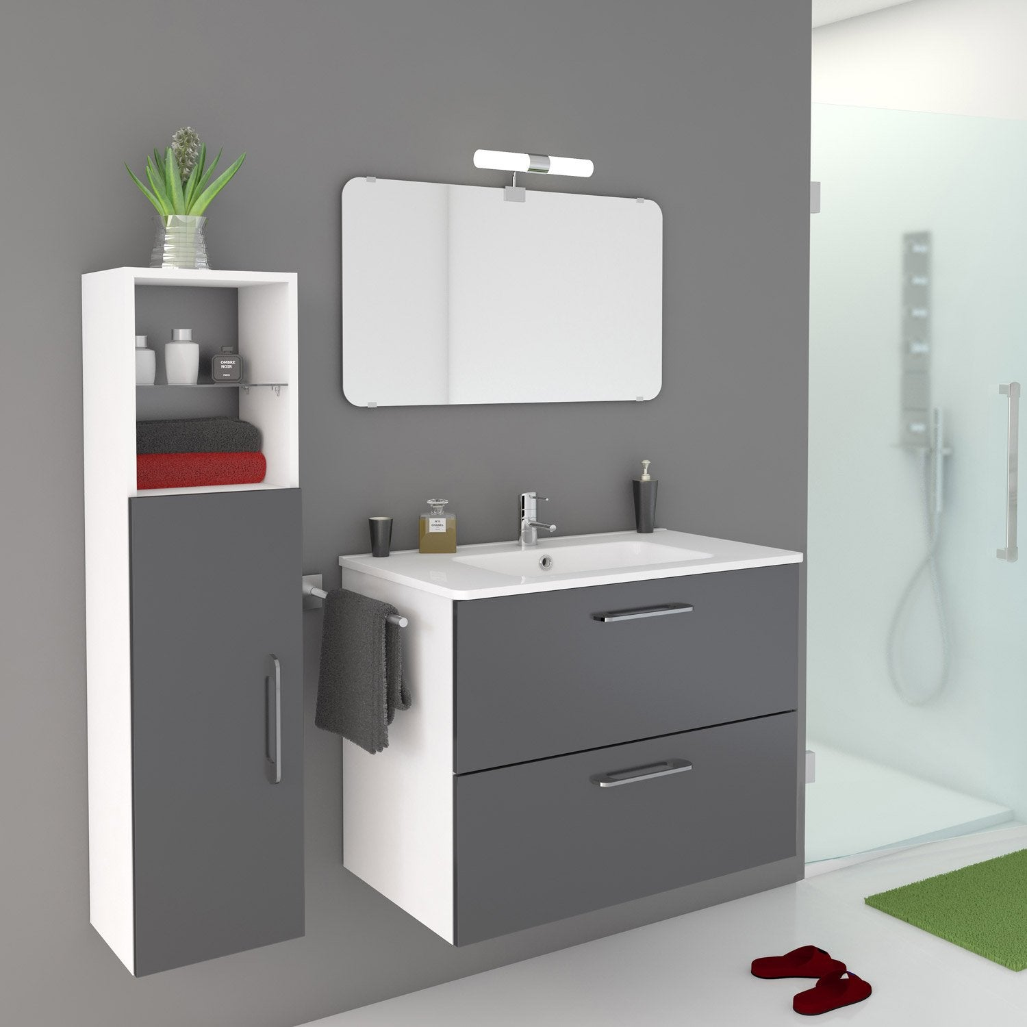 meuble de salle de bains de 80 99 gris argent happy leroy merlin. Black Bedroom Furniture Sets. Home Design Ideas