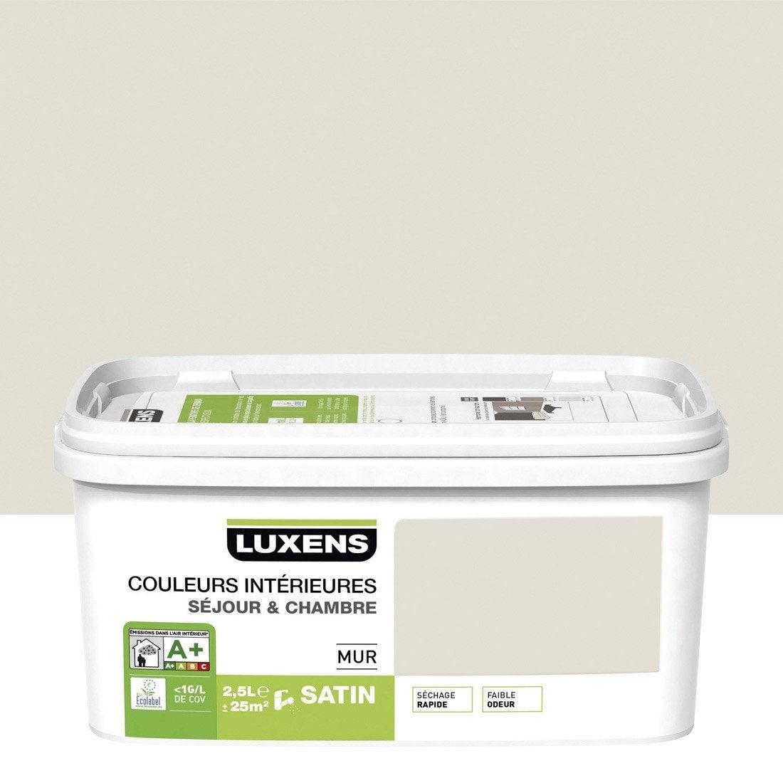Peinture blanc lin 2 luxens couleurs int rieures 2 5 l leroy merlin for Peinture couleur lin