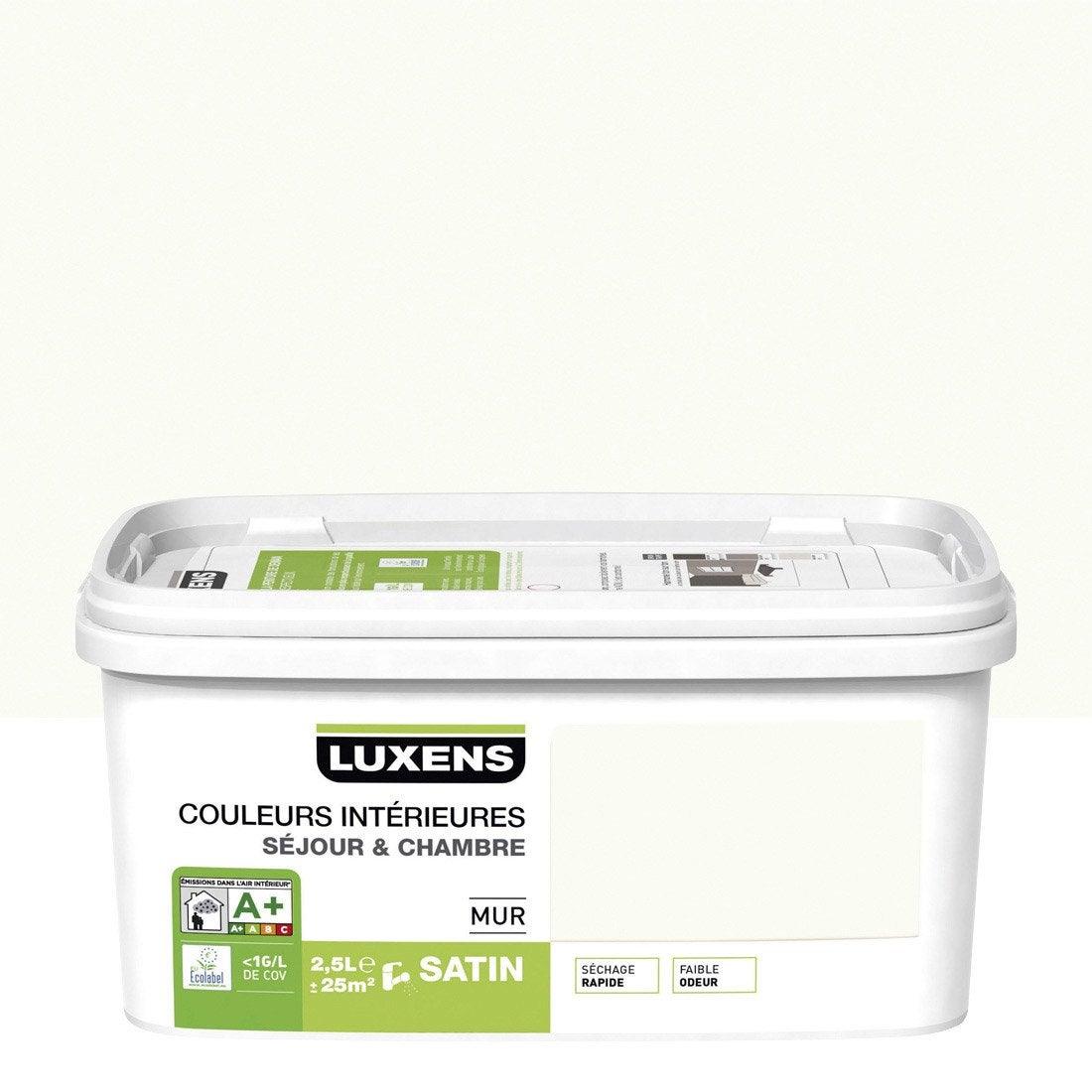 Peinture blanc calcaire 3 luxens couleurs int rieures 2 5 for Peinture speciale salle de bain