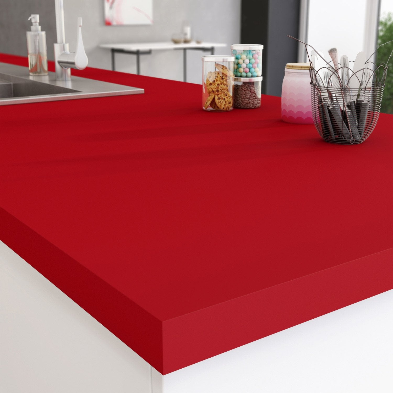 Exceptionnel PLAN TRAV ROUGE ROUGE 3 300X65X3.8CM | Leroy Merlin ZF92