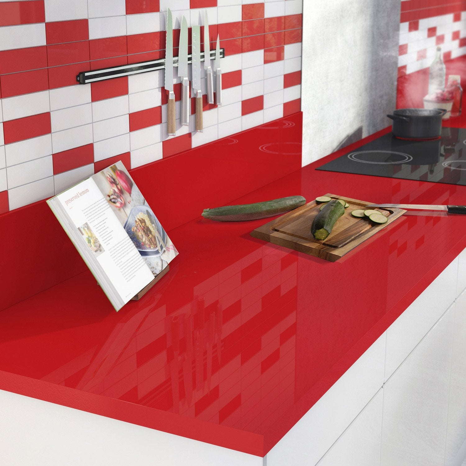 Plan de travail stratifi rouge rouge 3 brillant x p for Plan de cuisine stratifie