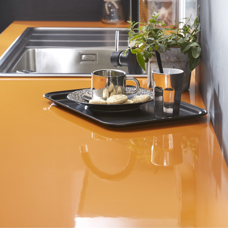 Plan de travail stratifi orange orange 4 brillant x cm mm leroy merlin - Plan de travail cuisine stratifie ...