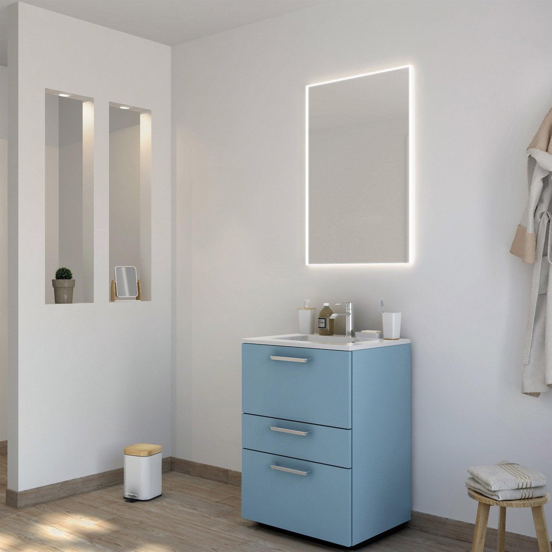 Meuble de salle de bains neo line bleu glacier 3 mat 60 cm for Meuble salle de bain 60 cm leroy merlin