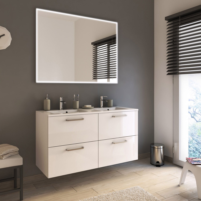 Meuble de salle de bains plus de 120 blanc beige naturels neo line leroy merlin - Meuble salle de bain beige ...