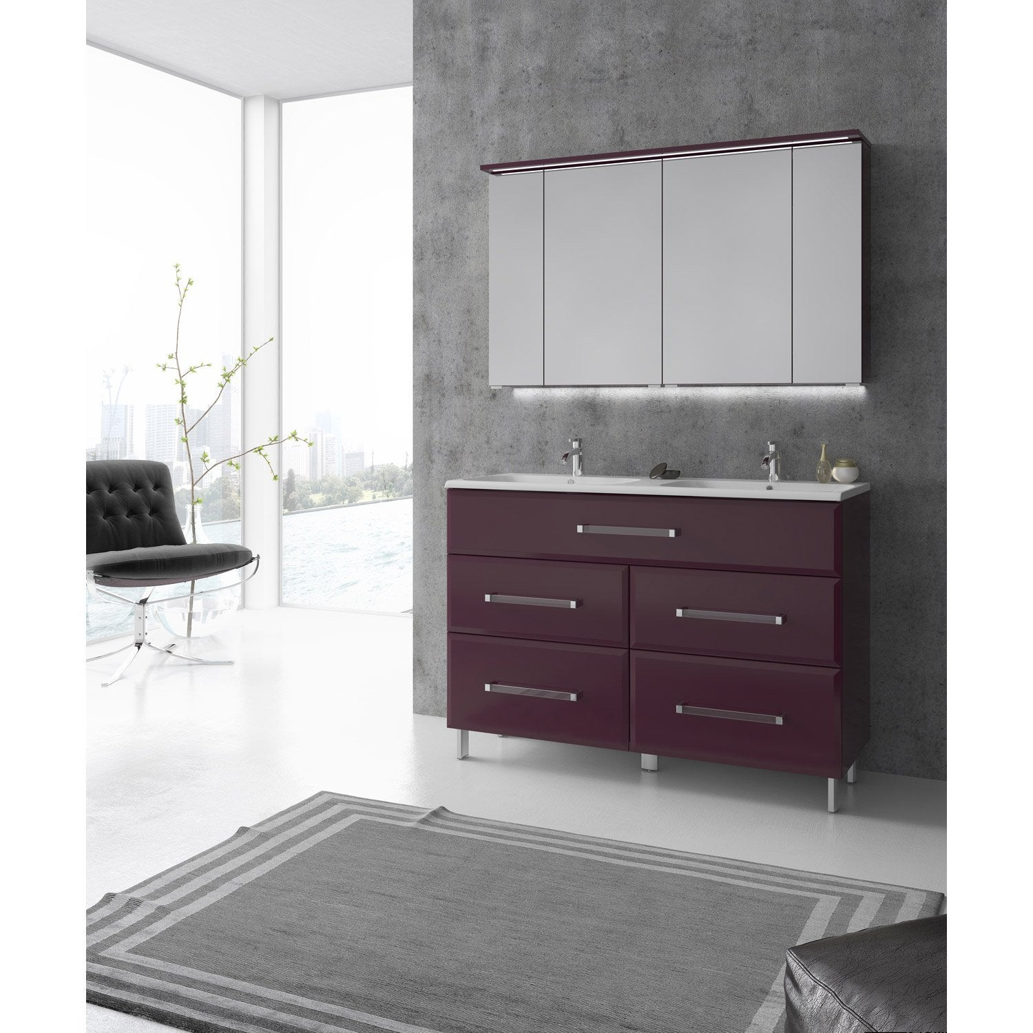 meuble de salle de bains plus de 120 rose violet opale. Black Bedroom Furniture Sets. Home Design Ideas