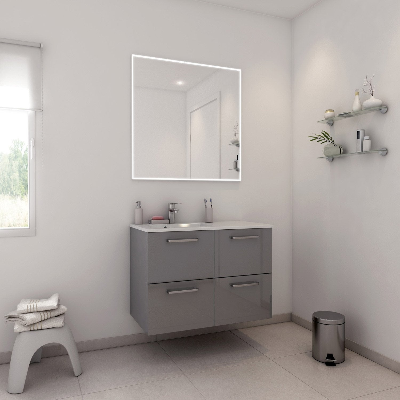 Meuble de salle de bains de 80 99 gris argent neo for Meuble salle de bain leroy merlin neo
