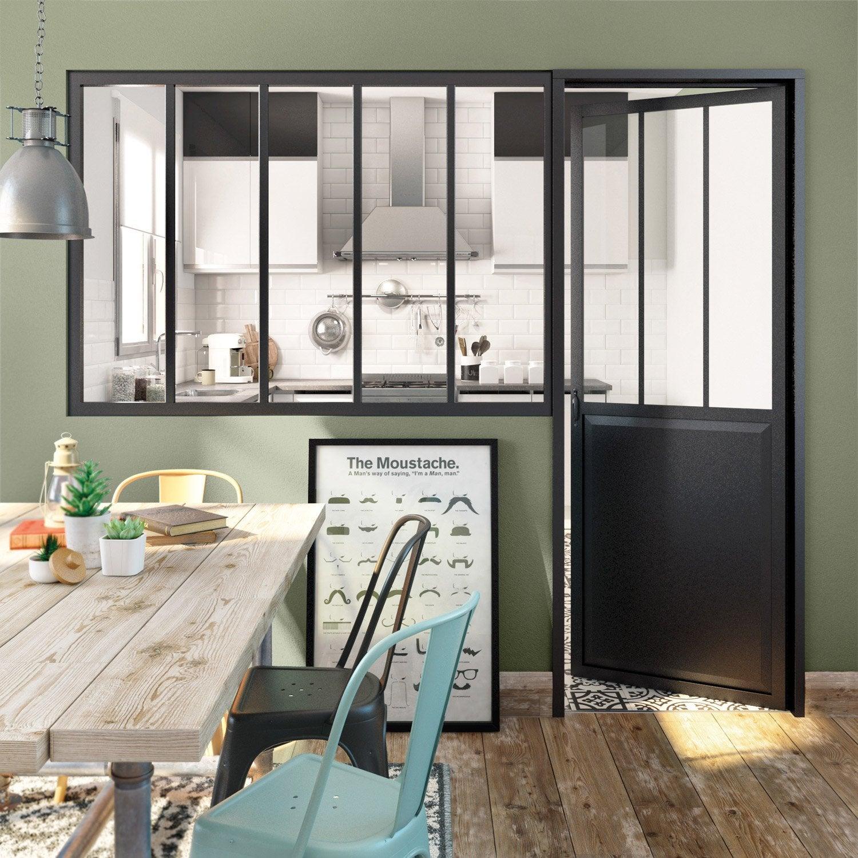 Verrière atelier aluminium noir, vitrage non fourni, H.1.08 x l ...