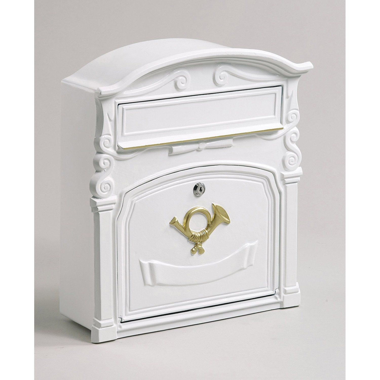 bo te aux lettres r novation 1 porte decayeux sienne fonte blanc leroy merlin. Black Bedroom Furniture Sets. Home Design Ideas