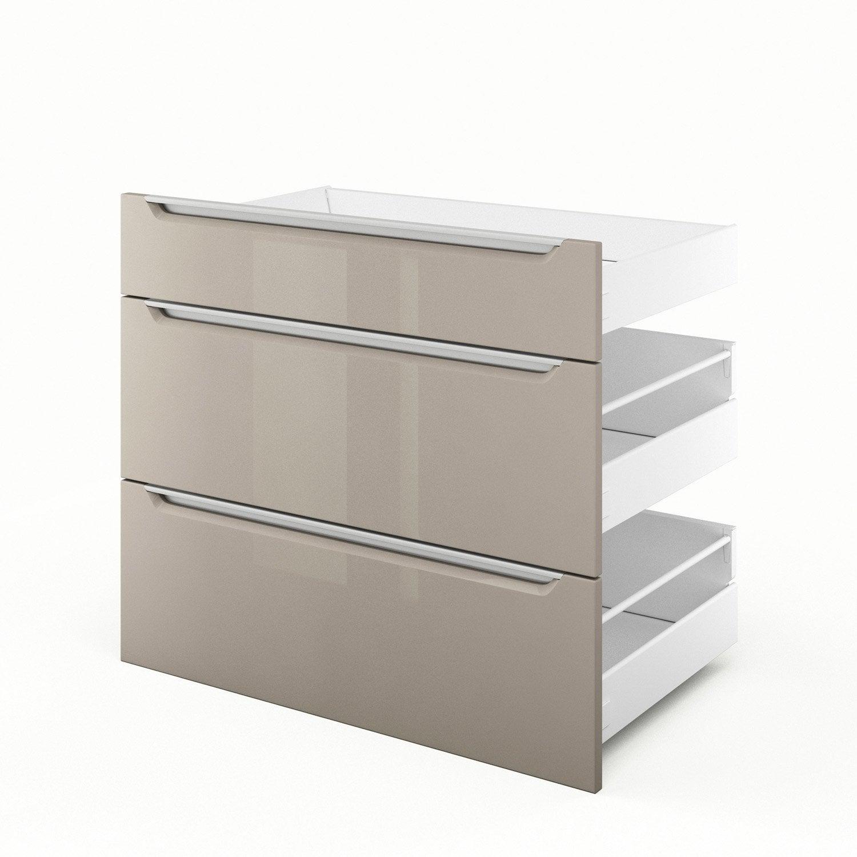 3 tiroirs de cuisine taupe 3d80 milano l80xh70xp55 cm for Tiroir cuisine leroy merlin