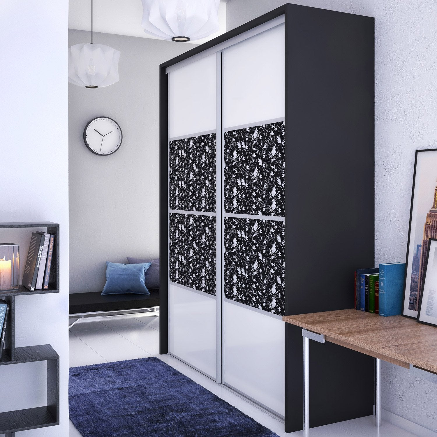 habillage porte placard coulissant excellent systme geom. Black Bedroom Furniture Sets. Home Design Ideas