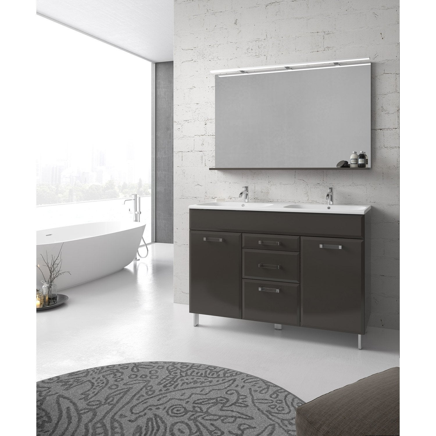 meuble de salle de bains plus de 120 gris argent opale. Black Bedroom Furniture Sets. Home Design Ideas