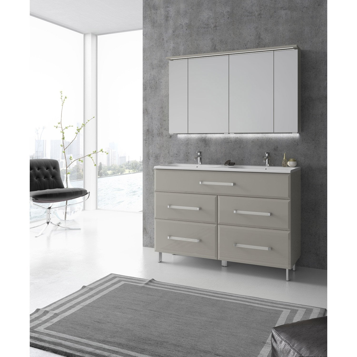 meuble de salle de bains plus de 120 beige opale leroy merlin. Black Bedroom Furniture Sets. Home Design Ideas