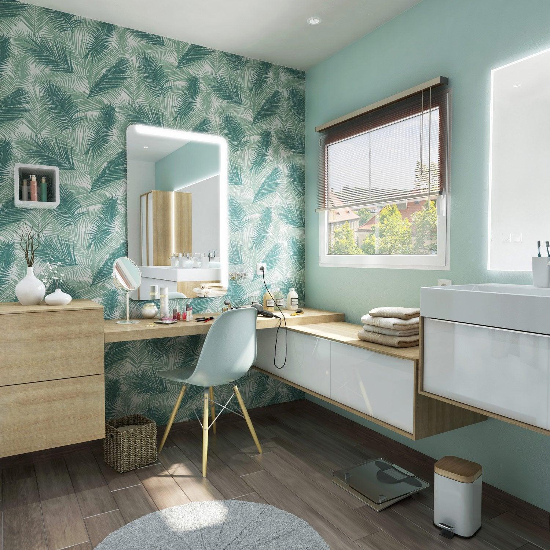 Meuble de salle de bains plus de 120, blanc / beige / naturels ...
