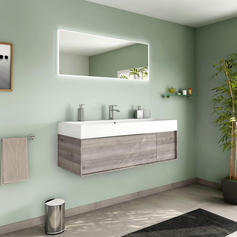Meuble de salle de bains plus de 120 brun marron neo for Meuble salle de bain 120 leroy merlin