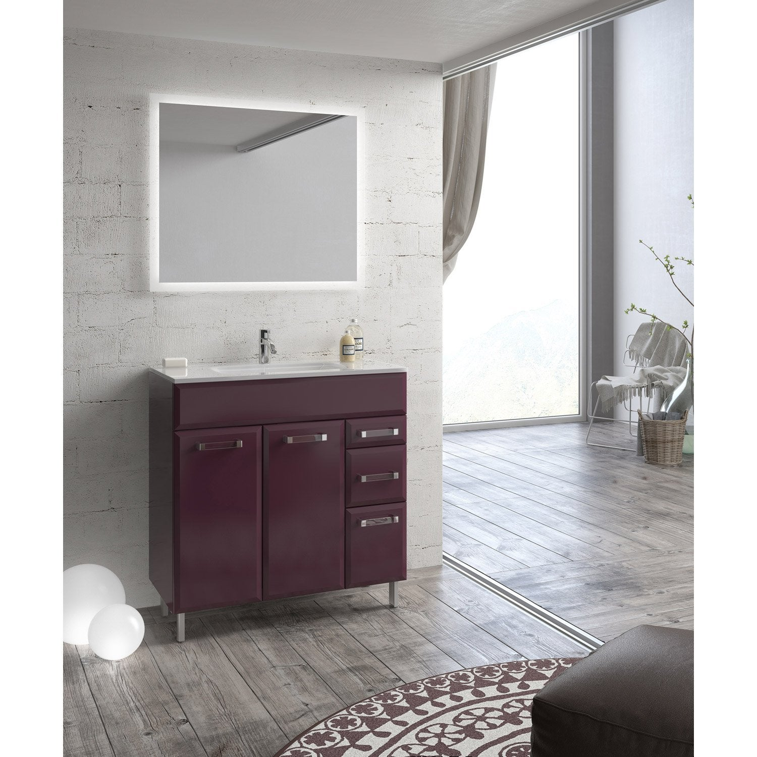 meuble de salle de bains de 80 99 violet opale leroy merlin. Black Bedroom Furniture Sets. Home Design Ideas