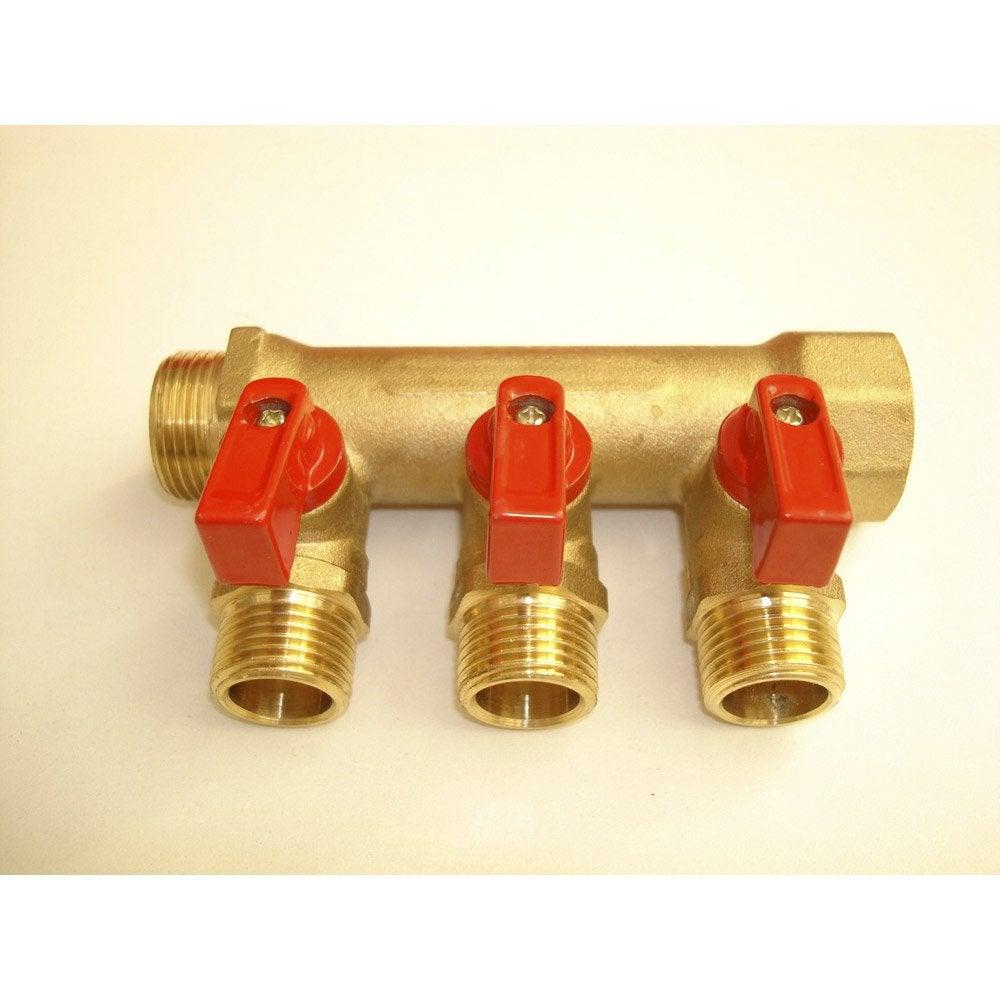 Collecteur 3 d parts vannes compression laiton m 15 x - Poser un robinet d arret sans soudure ...