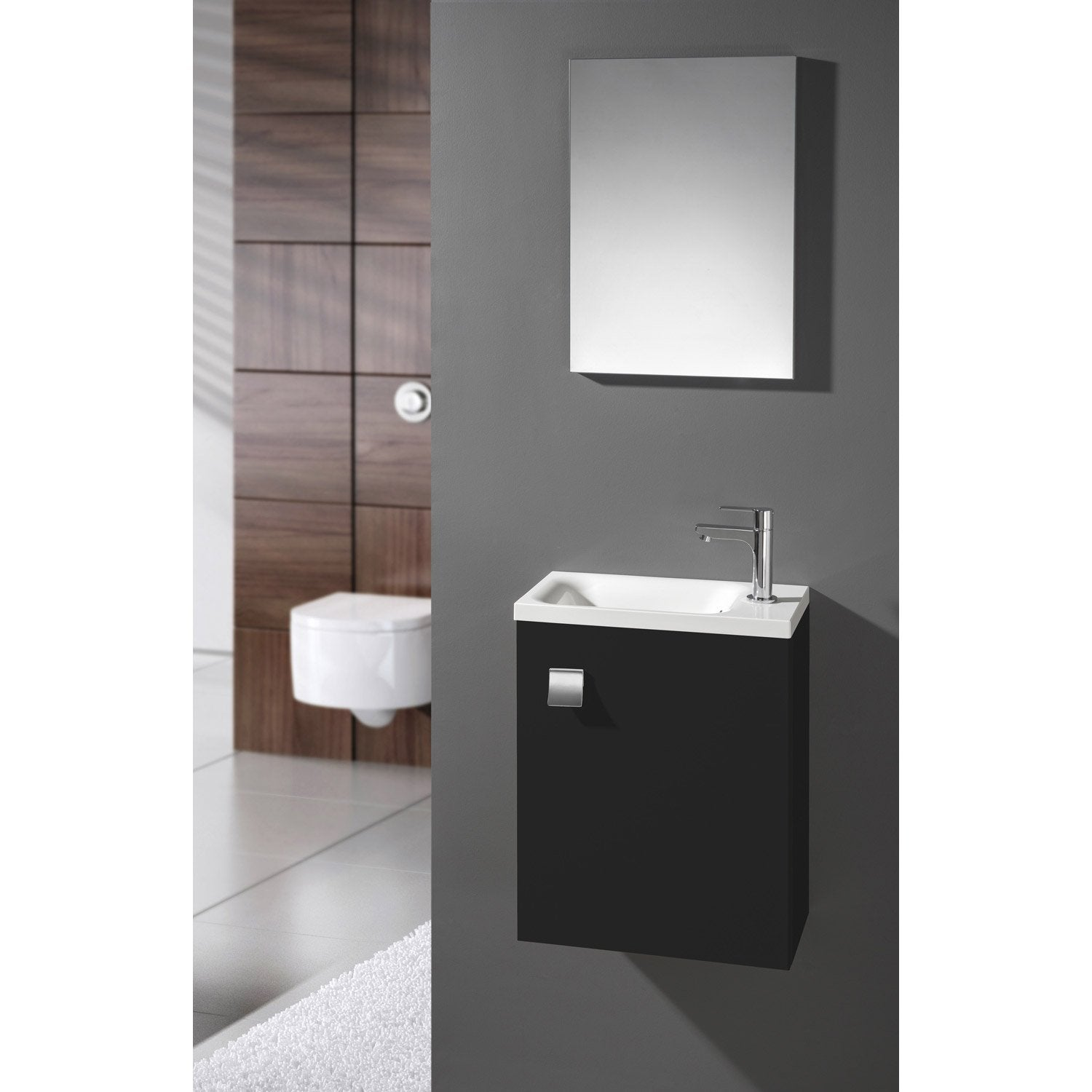 meuble lave mains avec miroir noir noir n 0 coin d 39 o. Black Bedroom Furniture Sets. Home Design Ideas