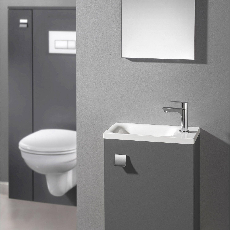 Meuble lave mains avec miroir coin d 39 o gris gris n 1 for Meuble lave main brico depot