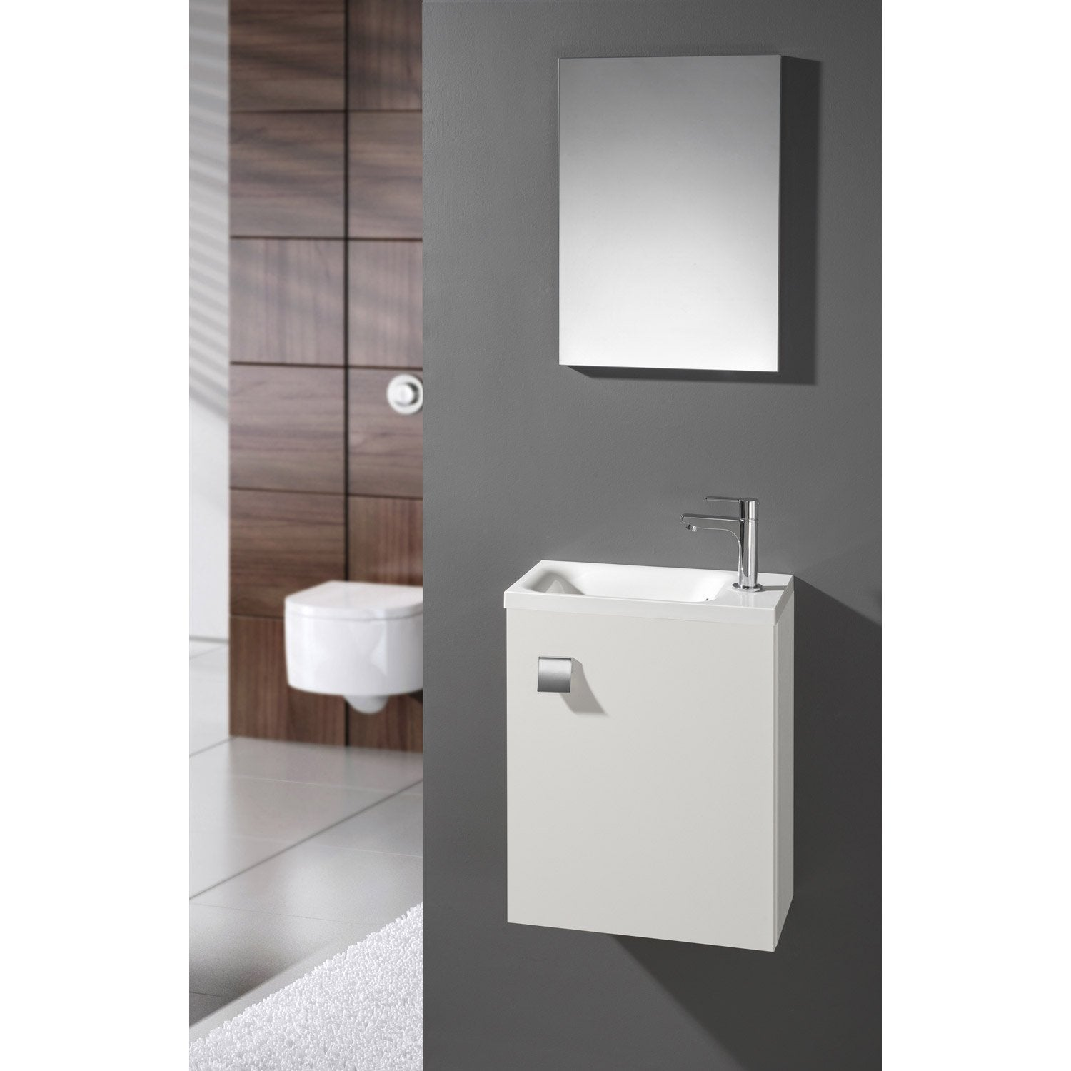meuble lave mains avec miroir blanc blanc n 0 coin d 39 o leroy merlin. Black Bedroom Furniture Sets. Home Design Ideas