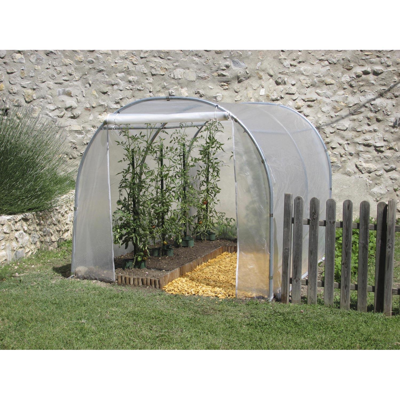 Serre tunnel pouss vert pied droit x x for Leroy merlin serre jardin