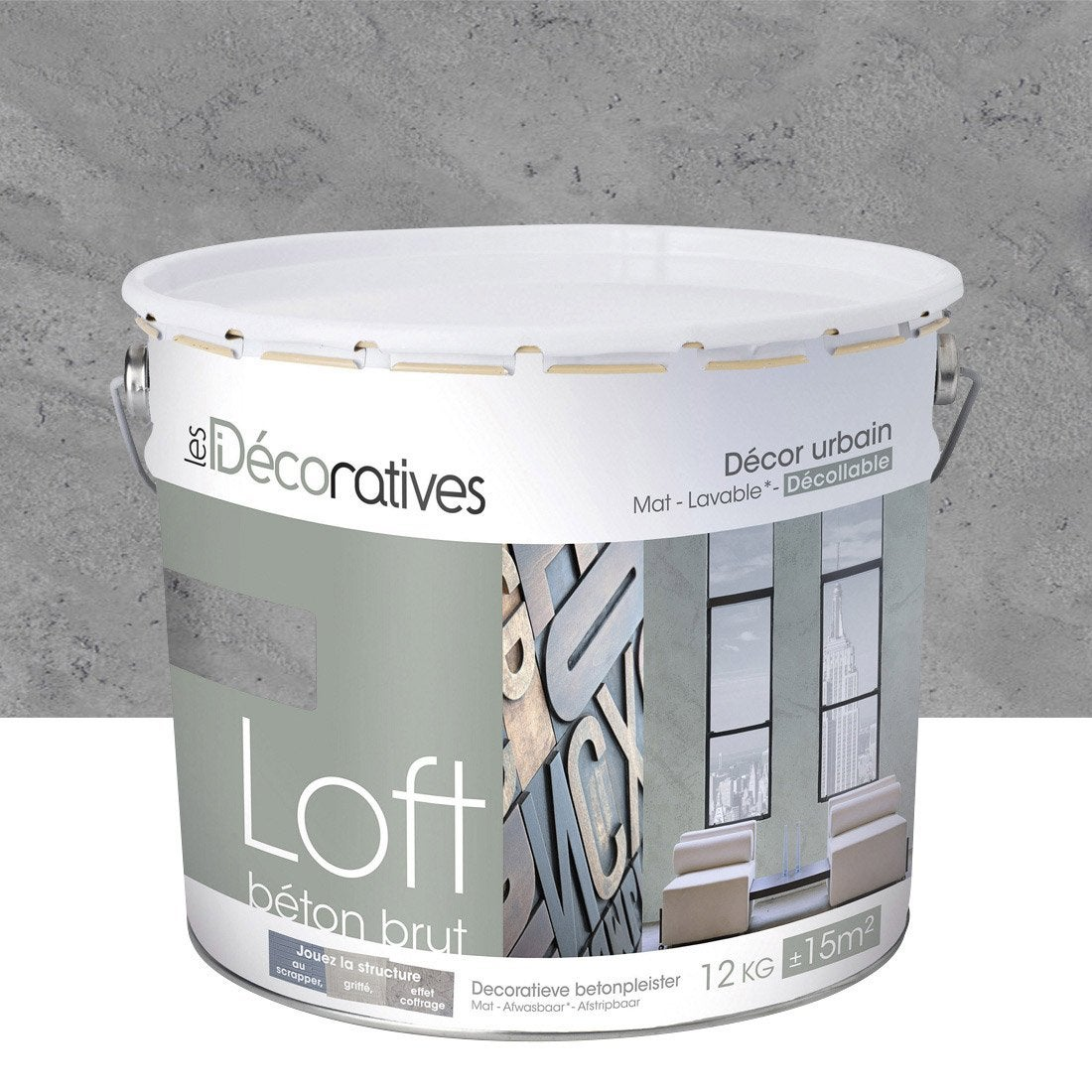 Enduit d coratif loft b ton brut les decoratives gris shangai 12 kg lero - Les decoratives loft beton cire ...