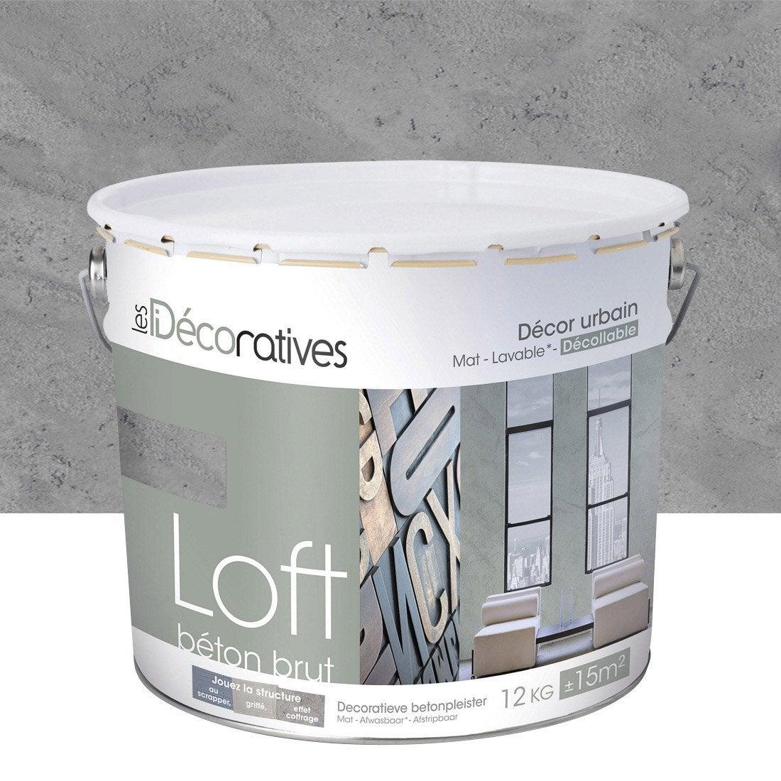 enduit d 233 coratif loft b 233 ton brut les decoratives gris shangai 12 kg leroy merlin